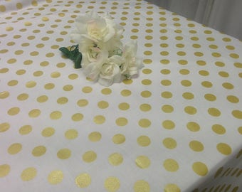 GOLD DOT TABLECLOTH   Colors, White, Black, Pink, Red, Black White
