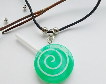 Lollipop Necklace, Green Lolly Pendant, Cosplay,Kawaii Jewelry,Jewellery For Teens,Kitsch Jewelry,Candy Jewelry,Gift For Her,