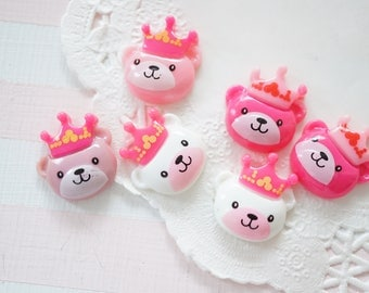 Clearance SALE 6 pcs Bear with Crown Cabochon (21mm19mm) DR233 (((LAST/no restock)))