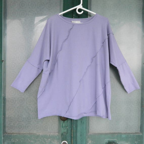 North Star Base 3/4 Sleeve Seamed Tunic Top -M- Lavender  Cotton/Spandex NWT