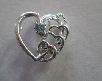 Pretty Silver stacked Heart brooch pin with baby blue crystal accent