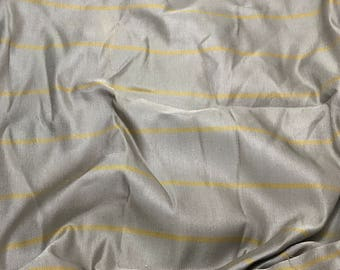 Raw Silk Fabric - Taupe Gray with Gold Stripes - fat 1/4