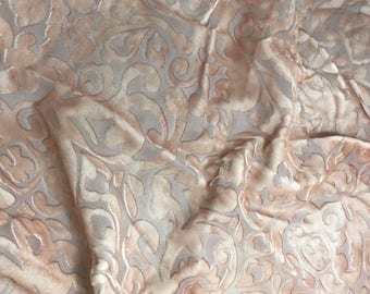 Hand Painted Burnout Silk Velvet Fabric - Rose Gold Scroll  - 1 Yard