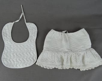 Vintage Doll Clothing, Bib & Petticoat Slip, Cotton Fleece, Quilted pre 1920s Antique Handmade