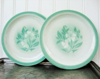 vintage syracuse china millbrook plates luncheon size green stencil flower
