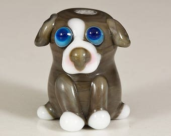 Gray Pit Bull Pup Lampwork Dog Bead