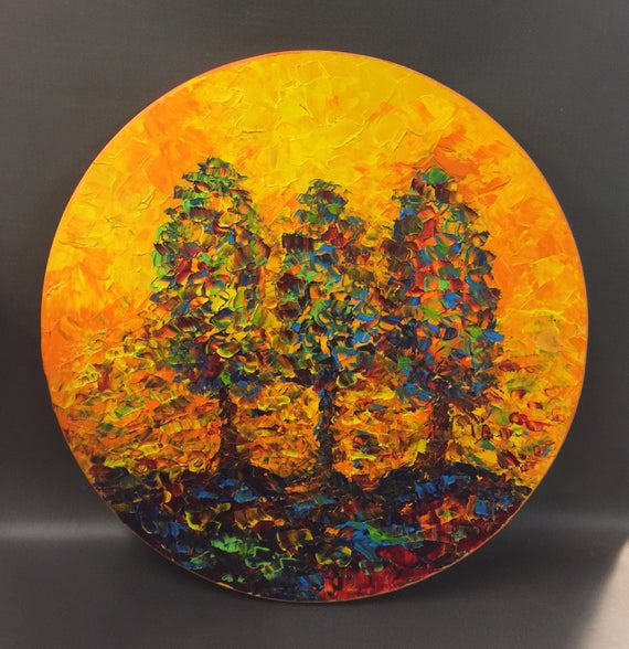 """ORIGINAL abstract trees pallette knife painting, 18"""" diameter on wood panel by Mell Smith."""