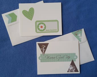 Two Handmade Greeting Cards - Hello Sunshine and Never Give Up Blank Cards with flowers, green and brown