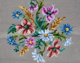 """Vintage Floral Bucilla Preworked Needlepoint Canvas 21699/3, 27"""" X 27"""" - Large Decorator for Seat Cover, Pillow"""