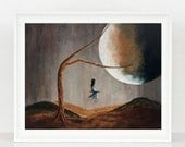 She Feels Memories - Surrealism Art Print - Full Moon - Fantasy Dreamscape - 8x10 inch - Matte Finish - Home Decor - Girl - Child - Limited