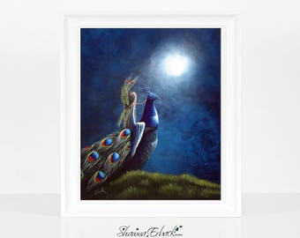 Peacock Princess II, Beautiful Peacock Art Print, For Home & Office Decor, Whimsical Colorful Bright, 8x10 inch, Fantasy Fairytale, Archival