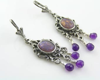 Chandelier Earrings, Amethyst Earrings, Wire Wrapped Jewelry, Vintage Glass Earrings, Purple Jewelry, Purple Earrings, Purple Silver, E1859