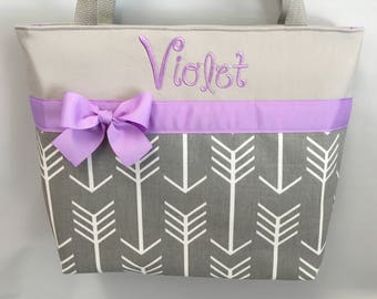 ARROWS TOTE  in Gray ... You Choose  Accent  Color  ... BRIDESMAID ... Monogrammed  FReE ... Zipper Available