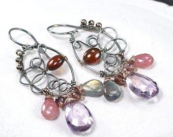 Summer SALE Ametrine earrings, Pink Sapphire, Labradorite, Hessonite Garnet, Garnet oxidised 925 silver cluster earrings ... MOMOKO Earrings