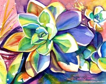 Original Watercolors, Succulent Paintings, Cactus Paintings, Kauai Fine Art, Tropical Wall Decor, Hawaii, Succulents, tropical plants