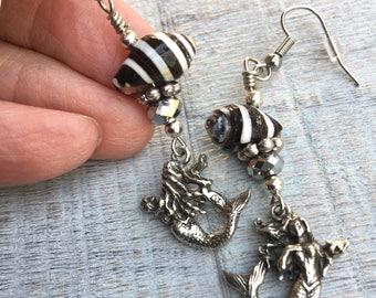 Black and Silver Mermaids Earrings