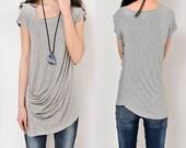 SALE - Ripple – draping asymmetrical tunic T-shirt modal cotton (Y5115)