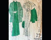 Vintage 30s Pintucked Bow Trimmed Myrna Loy Style Day Dress with Bell Sleeve Coat Wounded Bird Sewing Pattern 1559 B36