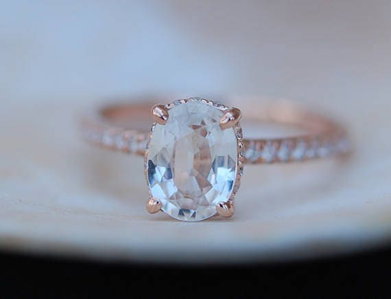 Blake Lively ring White Sapphire Engagement Ring oval cut 14k rose gold diamond ring 2.39ct Peach sapphire ring