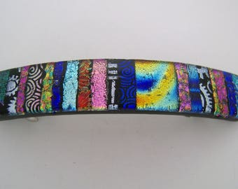 Large Dichroic glass hair  barrette