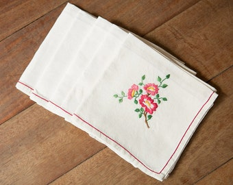 Vintage French Linens - embroidered napkins set of 5