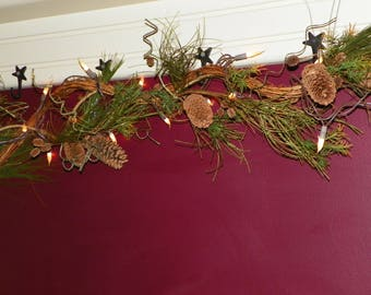 Christmas Garland, 50 Silicone Bulbs On Wired Pine Garland, Grapevine, 8 1/
