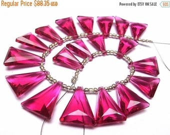 50% Off Sale Wholesale - Super Finest AAA Rubelite Hot Pink Quartz Faceted Elongated Trillion Briolettes Size 19x13mm - 15x11mm approx, 8 In
