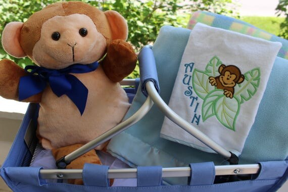 Personalized little monkey baby gift set personalized baby like this item negle Images