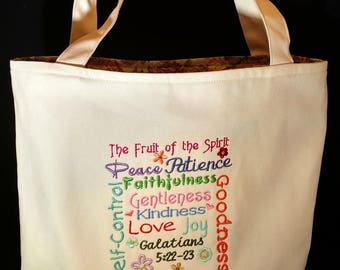 Tote bag with scripture embroidery, make any of my SCRIPTURE TOWELS into a canvas tote bag, Handmade bag!, completely lined, Bible study bag