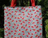 Watermelon Tote Bag black & white check Gingham Checks Handmade Purse
