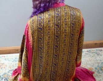 RESERVED!!  Silk Kimono Robe - Upcycled Sari Silk - One of a kind - Fits small - xl