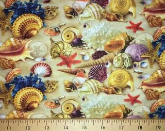 Beach Sea Shells Sandy Beach Coastal Nautical Landscape Fabric By the Yard t3/7