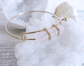 Gold Rose Quartz Cuff Bangle Bracelet Wire Wrapped Gemstone Crystal Rose Quartz
