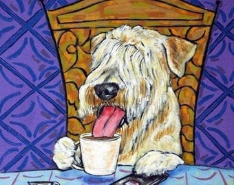 20 % off storewide Soft Coated Wheaton Terrier at the Coffee Shop Art Tile Coaster
