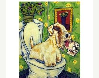 20% off storewide Sealyham Terrier in the Bathroom Dog Art Print