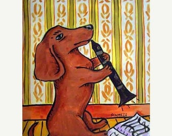 20% off storewide Dachshund PRINT - 11x14 dog art PRINT poster gift , clarinet, dachshund art, dog, art
