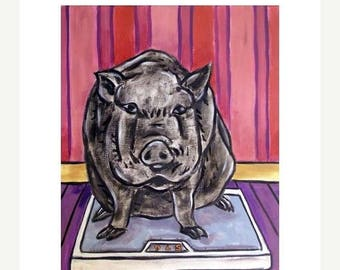 20% off Pig on a Diet Animal Art print