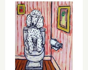 20% off Poodle in the Bathroom Dog Art Print