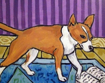 20% off Portuguese Podengo Reading a Book Dog Art Tile Coaster Gift