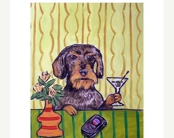 20% off Dachshund Having a Martini Dog Art Print