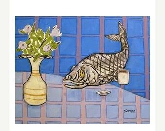 Pacific Herring at the Coffee Shop Art Print fish pop art folk abstract modern