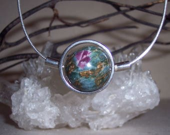 RUBY with ZOISITE -hand-cut -Stone Sphere Necklace