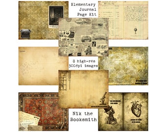 Digital Vintage Journal Page Kit - Elementary! - Perfect for journals, cards, mixed media, scrapbooking (8 digital pages)