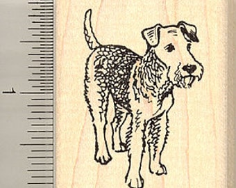 Airedale Terrier Dog Rubber Stamp G9406 Wood Mounted