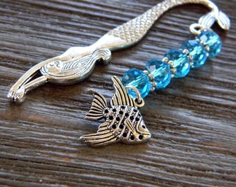 Mermaid Bookmark with Fish Charm Shepherd Hook Style Silver Colored Detailed Bookmark with Aqua Glass Beads