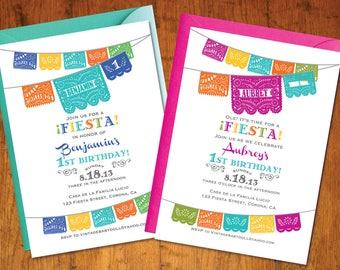 Printable Invitation AND Rsvp file - Fiesta Birthday papel picado - mexican cinco de mayo -  I design, You Print