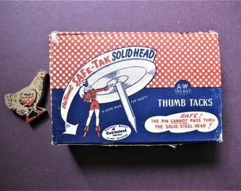 Vintage Thumb Tacks Cardboard Box, Box Only, Great Graphics