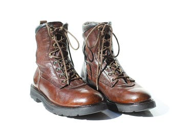 Vintage Men's RED WING Brown Leather Work Boots / size 9.5