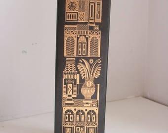GEORGES BRIARD tall VASE Hyalyn Porcelain Midas gold on matte glaze mid century modern 1950s