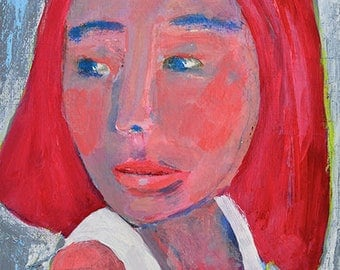 Acrylic Mixed Media Collage Woman Portrait Original Painting. Pink & Gray Small Wall Art.